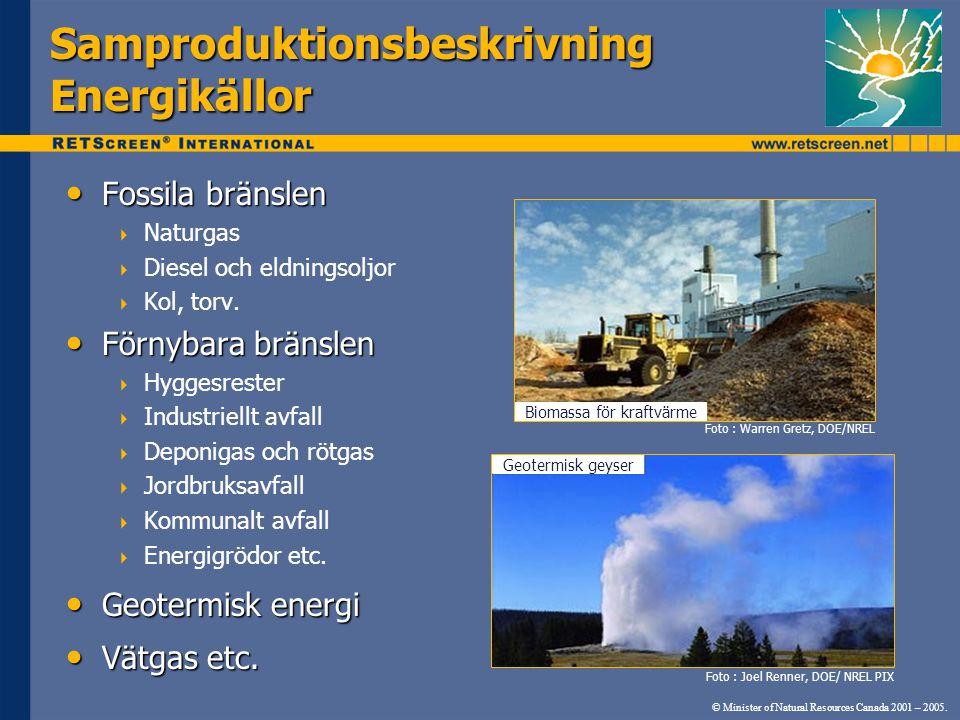Samproduktionsbeskrivning Energikällor Fossila bränslen Fossila bränslen  Naturgas  Diesel och eldningsoljor  Kol, torv.