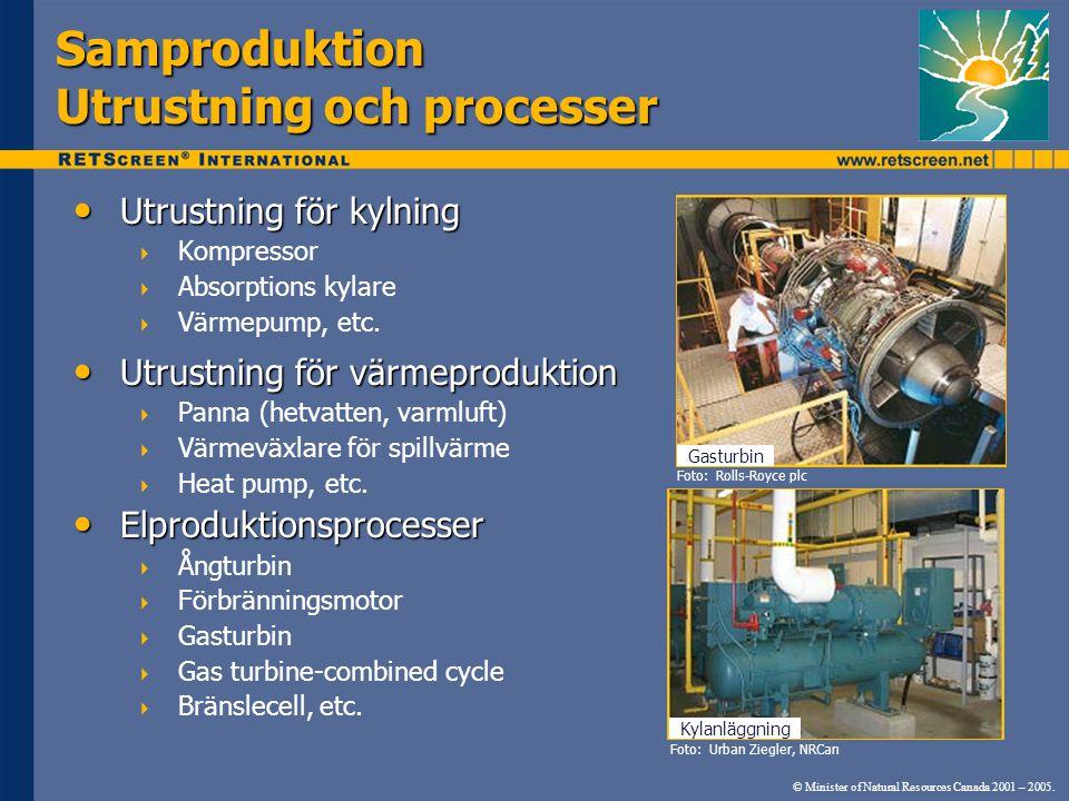 Samproduktion Utrustning och processer Utrustning för kylning Utrustning för kylning  Kompressor  Absorptions kylare  Värmepump, etc. Utrustning fö