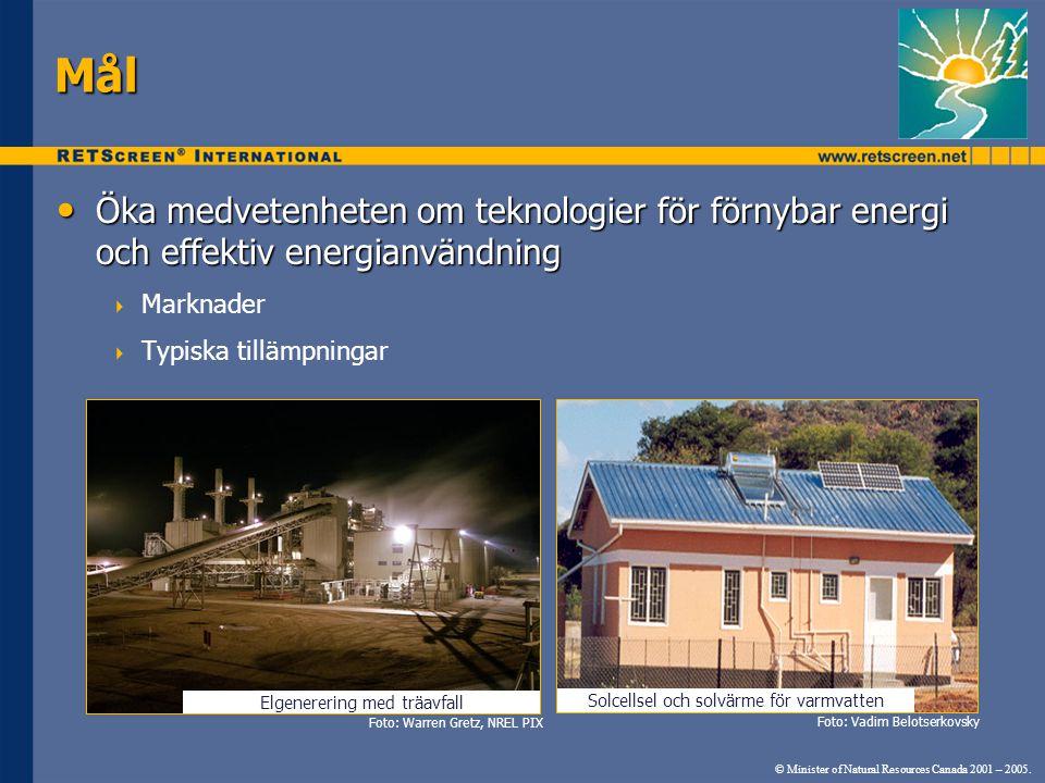 Elgenerering med träavfall Mål Öka medvetenheten om teknologier för förnybar energi och effektiv energianvändning Öka medvetenheten om teknologier för förnybar energi och effektiv energianvändning  Marknader  Typiska tillämpningar Solcellsel och solvärme för varmvatten © Minister of Natural Resources Canada 2001 – 2005.