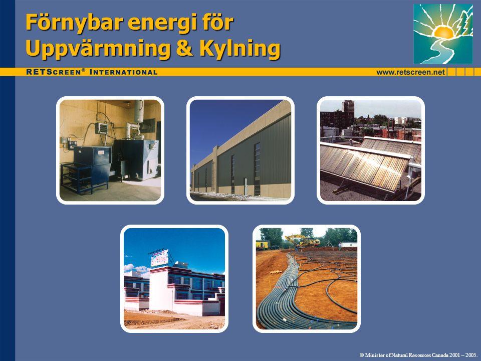 Förnybar energi för Uppvärmning & Kylning © Minister of Natural Resources Canada 2001 – 2005.
