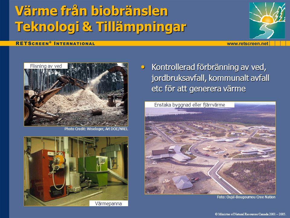 Värme från biobränslen Teknologi & Tillämpningar Flisning av ved Värmepanna Enstaka byggnad eller fjärrvärme Photo Credit: Wiseloger, Art DOE/NREL Fot