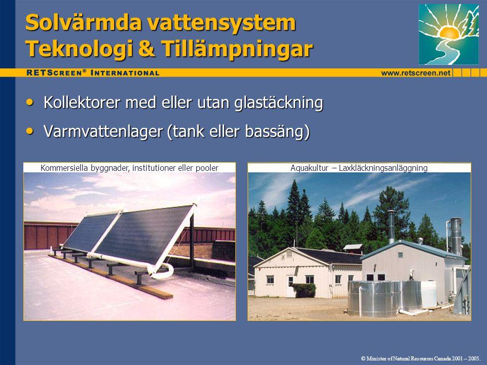 Solvärmda vattensystem Teknologi & Tillämpningar Kollektorer med eller utan glastäckning Kollektorer med eller utan glastäckning Varmvattenlager (tank