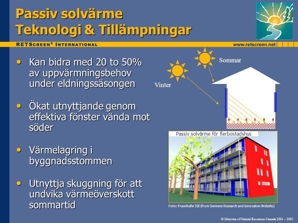 Passiv solvärme Teknologi & Tillämpningar Kan bidra med 20 to 50% av uppvärmningsbehov under eldningssäsongen Kan bidra med 20 to 50% av uppvärmningsbehov under eldningssäsongen Ökat utnyttjande genom effektiva fönster vända mot söder Ökat utnyttjande genom effektiva fönster vända mot söder Värmelagring i byggnadsstommen Värmelagring i byggnadsstommen Utnyttja skuggning för att undvika värmeöverskott sommartid Utnyttja skuggning för att undvika värmeöverskott sommartid © Minister of Natural Resources Canada 2001 – 2005.