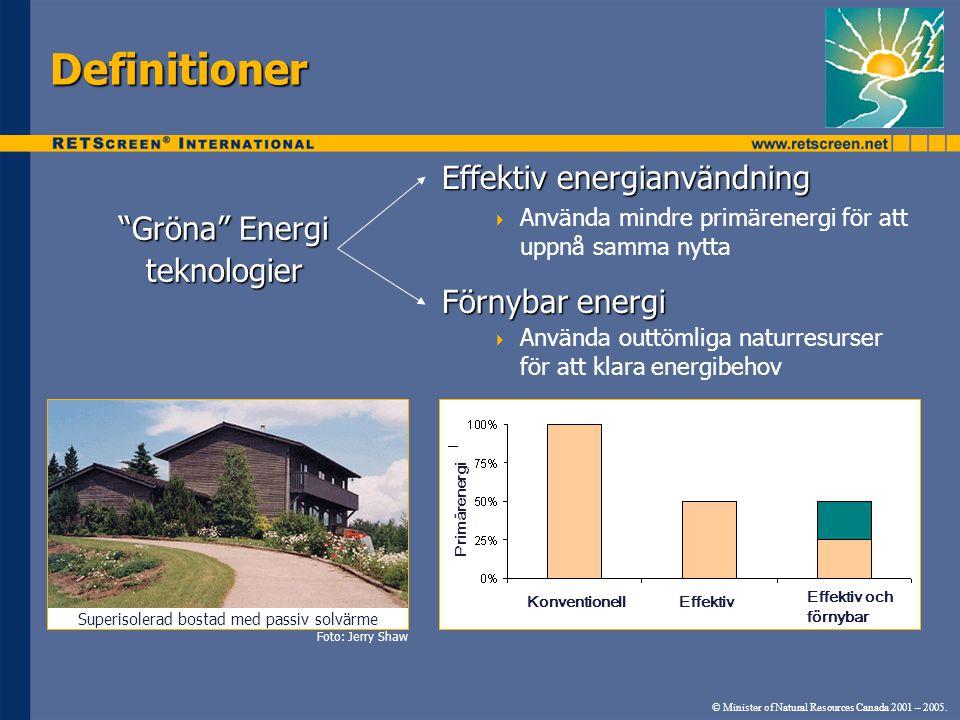 Definitioner Effektiv energianvändning  Använda mindre primärenergi för att uppnå samma nytta Förnybar energi  Använda outtömliga naturresurser för