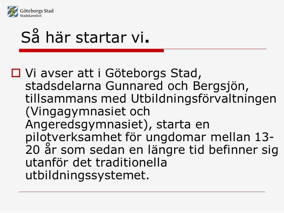 Så här startar vi.  Vi avser att i Göteborgs Stad, stadsdelarna Gunnared och Bergsjön, tillsammans med Utbildningsförvaltningen (Vingagymnasiet och A