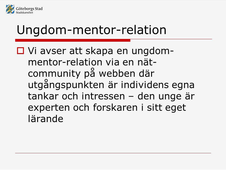 Ungdom-mentor-relation  Vi avser att skapa en ungdom- mentor-relation via en nät- community på webben där utgångspunkten är individens egna tankar oc