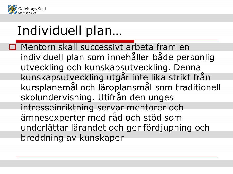 Individuell plan…  Mentorn skall successivt arbeta fram en individuell plan som innehåller både personlig utveckling och kunskapsutveckling. Denna ku