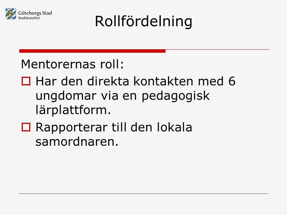 Rollfördelning Mentorernas roll:  Har den direkta kontakten med 6 ungdomar via en pedagogisk lärplattform.  Rapporterar till den lokala samordnaren.