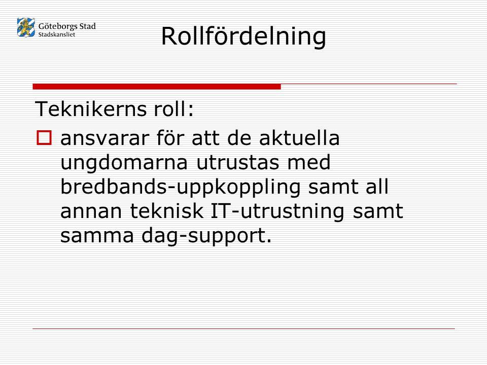 Rollfördelning Teknikerns roll:  ansvarar för att de aktuella ungdomarna utrustas med bredbands-uppkoppling samt all annan teknisk IT-utrustning samt samma dag-support.