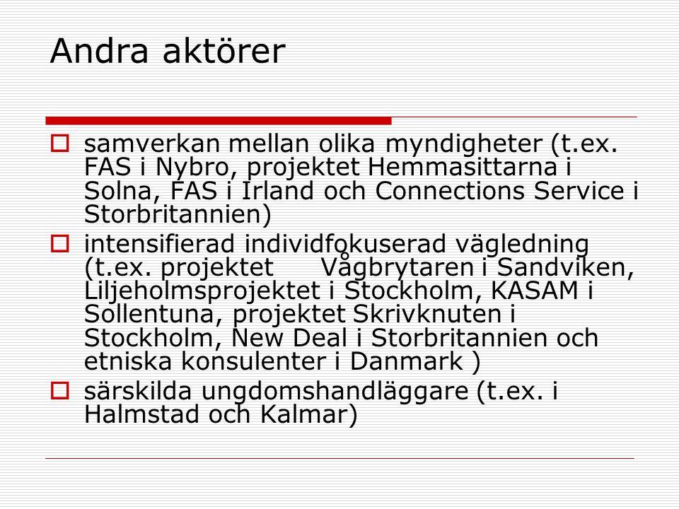  samverkan mellan olika myndigheter (t.ex. FAS i Nybro, projektet Hemmasittarna i Solna, FAS i Irland och Connections Service i Storbritannien)  int