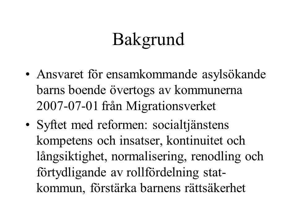 Bakgrund Ansvaret för ensamkommande asylsökande barns boende övertogs av kommunerna 2007-07-01 från Migrationsverket Syftet med reformen: socialtjänst