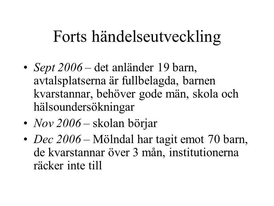 Forts händelseutveckling Sept 2006 – det anländer 19 barn, avtalsplatserna är fullbelagda, barnen kvarstannar, behöver gode män, skola och hälsounders