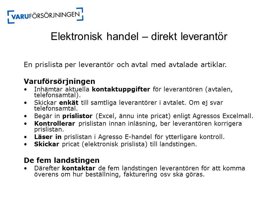 Elektronisk handel – direkt leverantör En prislista per leverantör och avtal med avtalade artiklar.