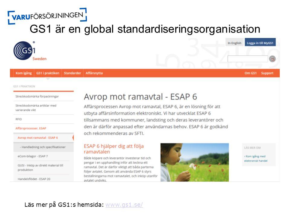 GS1 är en global standardiseringsorganisation Läs mer på GS1:s hemsida: www.gs1.se/www.gs1.se/