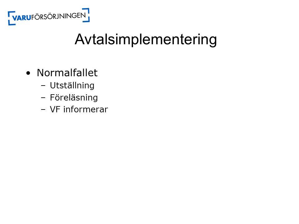 Avtalsimplementering Normalfallet –Utställning –Föreläsning –VF informerar
