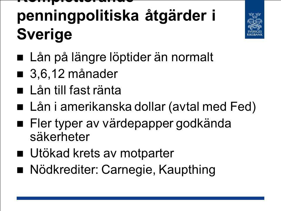 Kompletterande penningpolitiska åtgärder i Sverige Lån på längre löptider än normalt 3,6,12 månader Lån till fast ränta Lån i amerikanska dollar (avta
