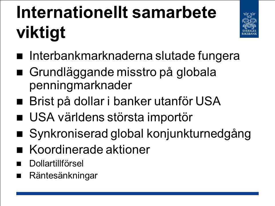 Internationellt samarbete viktigt Interbankmarknaderna slutade fungera Grundläggande misstro på globala penningmarknader Brist på dollar i banker utan