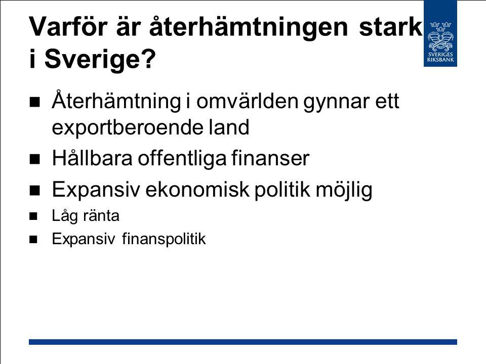 Varför är återhämtningen stark i Sverige? Återhämtning i omvärlden gynnar ett exportberoende land Hållbara offentliga finanser Expansiv ekonomisk poli