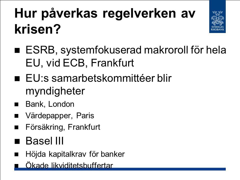Hur påverkas regelverken av krisen? ESRB, systemfokuserad makroroll för hela EU, vid ECB, Frankfurt EU:s samarbetskommittéer blir myndigheter Bank, Lo