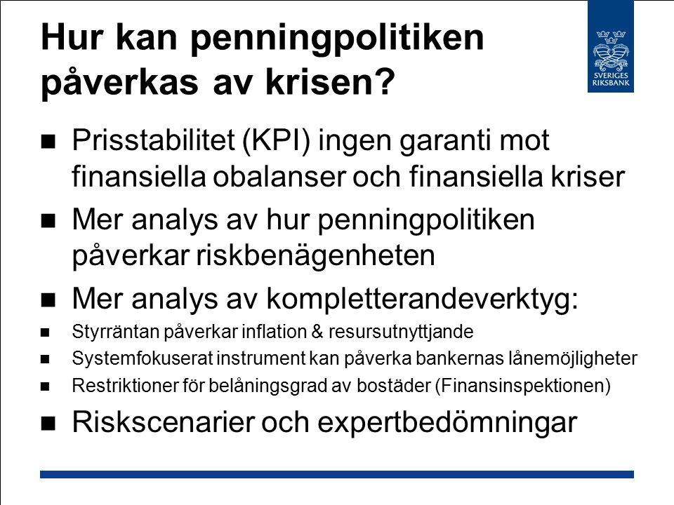 Hur kan penningpolitiken påverkas av krisen? Prisstabilitet (KPI) ingen garanti mot finansiella obalanser och finansiella kriser Mer analys av hur pen