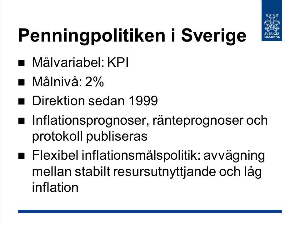 Penningpolitiken i Sverige Målvariabel: KPI Målnivå: 2% Direktion sedan 1999 Inflationsprognoser, ränteprognoser och protokoll publiseras Flexibel inf