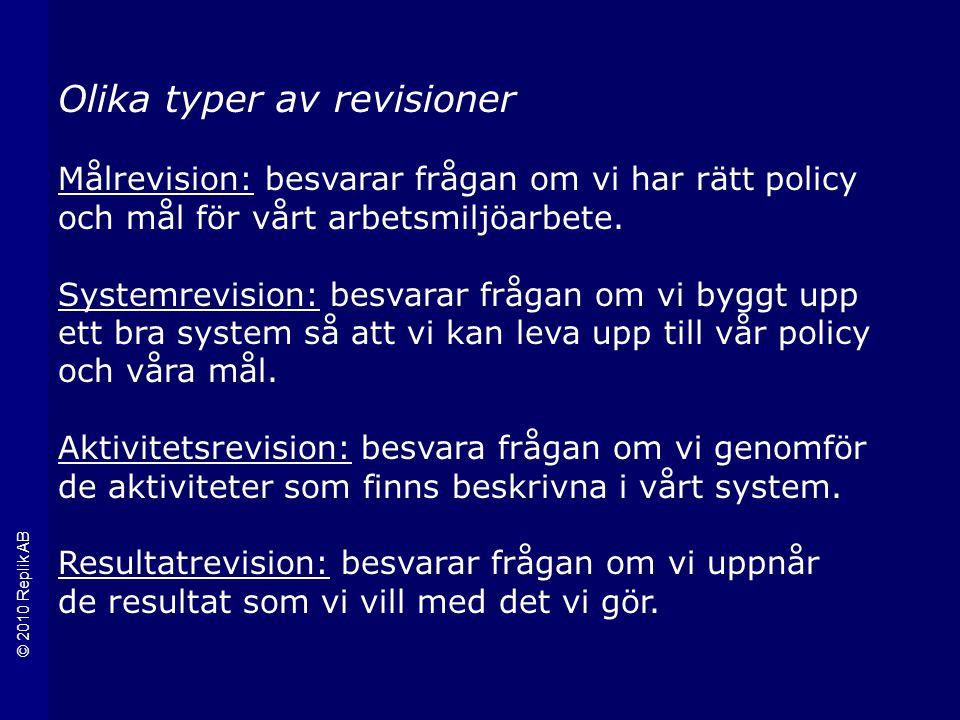 © 2010 Replik AB Olika typer av revisioner Målrevision: besvarar frågan om vi har rätt policy och mål för vårt arbetsmiljöarbete.