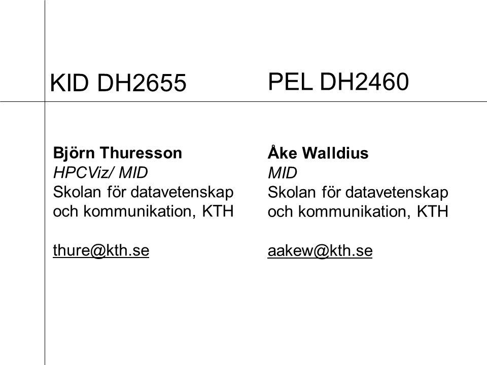 KID DH2655 Björn Thuresson HPCViz/ MID Skolan för datavetenskap och kommunikation, KTH thure@kth.se PEL DH2460 Åke Walldius MID Skolan för datavetenskap och kommunikation, KTH aakew@kth.se