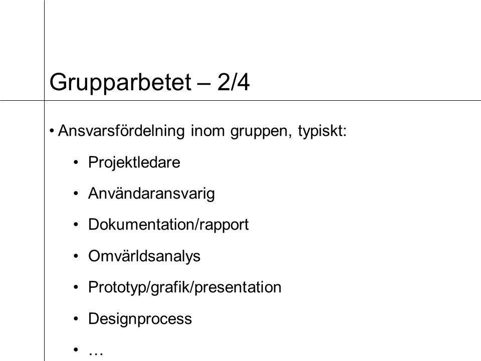 Grupparbetet – 2/4 Ansvarsfördelning inom gruppen, typiskt: Projektledare Användaransvarig Dokumentation/rapport Omvärldsanalys Prototyp/grafik/presentation Designprocess …