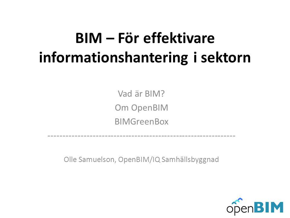 BIM – För effektivare informationshantering i sektorn Vad är BIM? Om OpenBIM BIMGreenBox -------------------------------------------------------------
