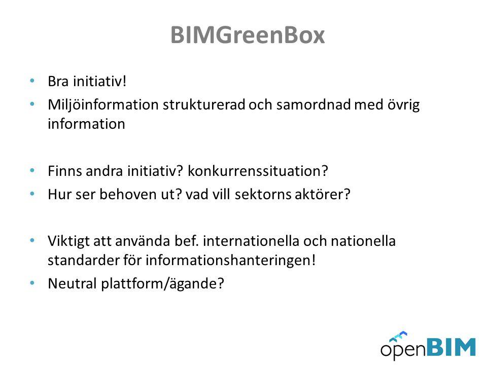 BIMGreenBox Bra initiativ! Miljöinformation strukturerad och samordnad med övrig information Finns andra initiativ? konkurrenssituation? Hur ser behov