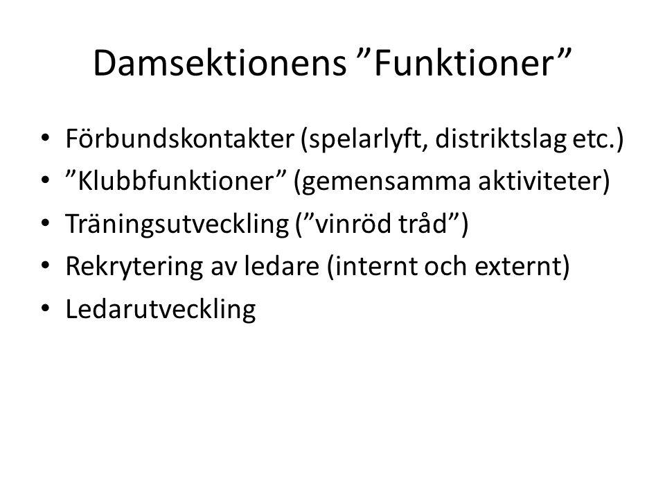 """Damsektionens """"Funktioner"""" Förbundskontakter (spelarlyft, distriktslag etc.) """"Klubbfunktioner"""" (gemensamma aktiviteter) Träningsutveckling (""""vinröd tr"""