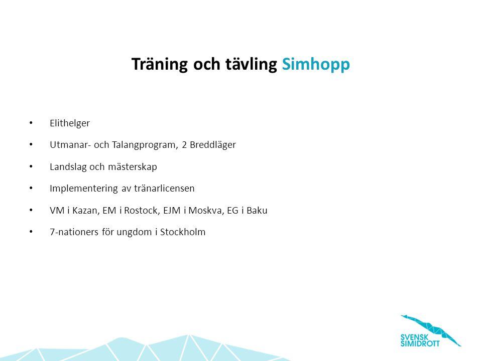 Träning och tävling Vattenpolo Fortsatt expandering av Poolkampen Serieutveckling Utvecklingstrappa för vattenpolo SM i Beach-Vattenpolo under SM-veckan