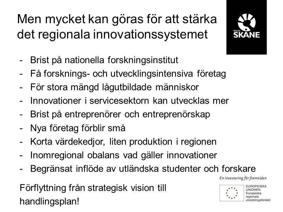 -Brist på nationella forskningsinstitut -Få forsknings- och utvecklingsintensiva företag -För stora mängd lågutbildade människor -Innovationer i servicesektorn kan utvecklas mer -Brist på entreprenörer och entreprenörskap -Nya företag förblir små -Korta värdekedjor, liten produktion i regionen -Inomregional obalans vad gäller innovationer -Begränsat inflöde av utländska studenter och forskare Förflyttning från strategisk vision till handlingsplan.