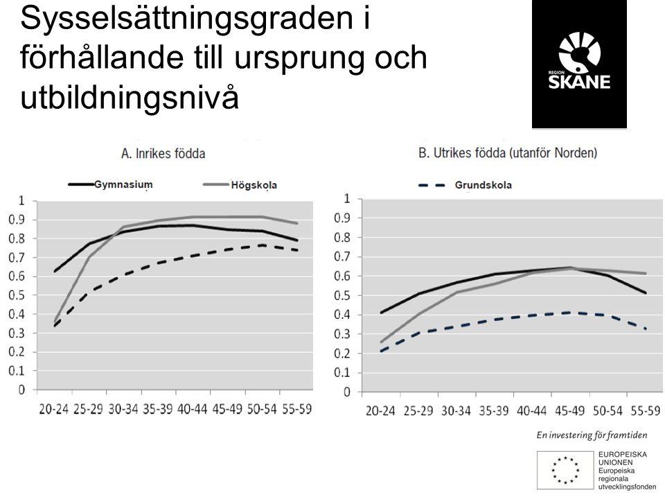 Sysselsättningsgraden i förhållande till ursprung och utbildningsnivå