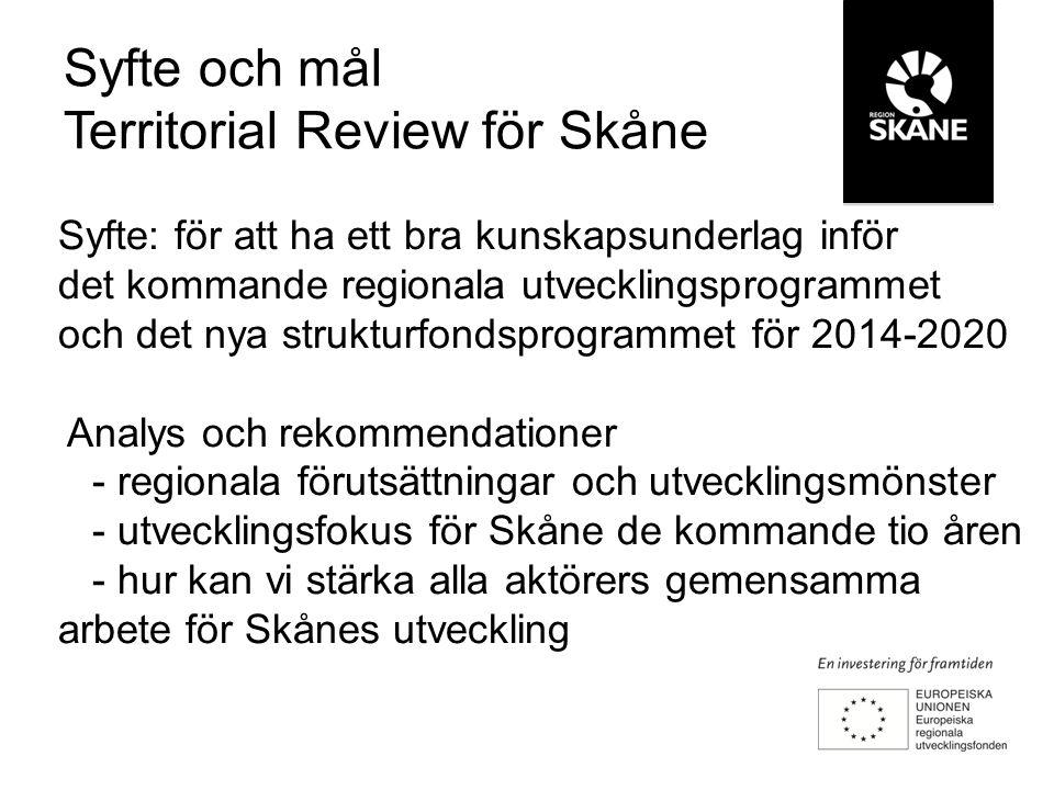 Syfte: för att ha ett bra kunskapsunderlag inför det kommande regionala utvecklingsprogrammet och det nya strukturfondsprogrammet för 2014-2020 Analys och rekommendationer - regionala förutsättningar och utvecklingsmönster - utvecklingsfokus för Skåne de kommande tio åren - hur kan vi stärka alla aktörers gemensamma arbete för Skånes utveckling Syfte och mål Territorial Review för Skåne