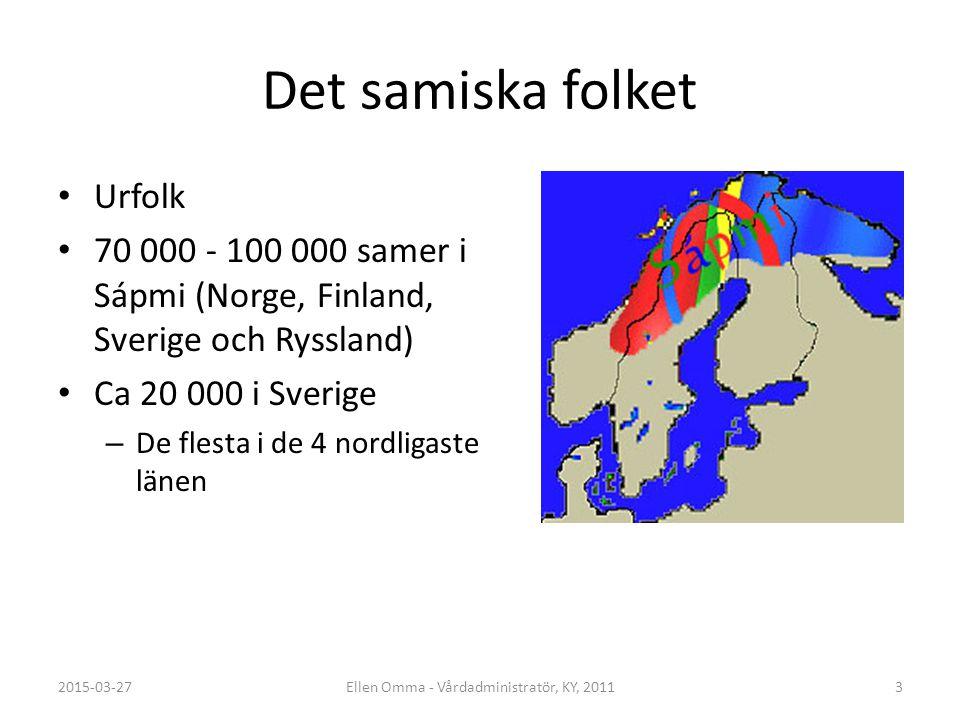 Det samiska folket Urfolk 70 000 - 100 000 samer i Sápmi (Norge, Finland, Sverige och Ryssland) Ca 20 000 i Sverige – De flesta i de 4 nordligaste län