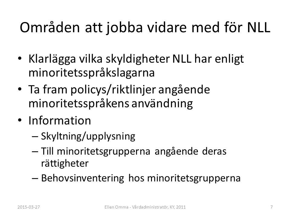 Områden att jobba vidare med för NLL Klarlägga vilka skyldigheter NLL har enligt minoritetsspråkslagarna Ta fram policys/riktlinjer angående minoritet