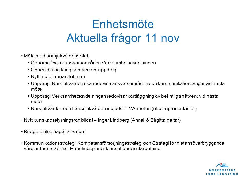 Enhetsmöte Aktuella frågor 11 nov 100 % svarsfrekvens medarbetarenkät HSE!.