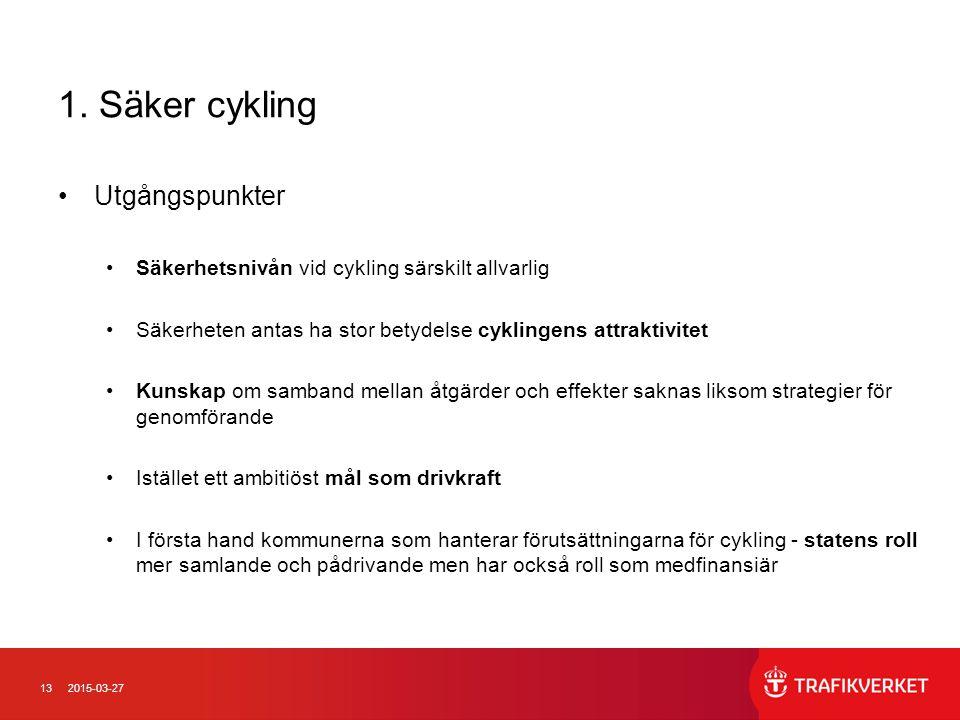 132015-03-27 1. Säker cykling Utgångspunkter Säkerhetsnivån vid cykling särskilt allvarlig Säkerheten antas ha stor betydelse cyklingens attraktivitet