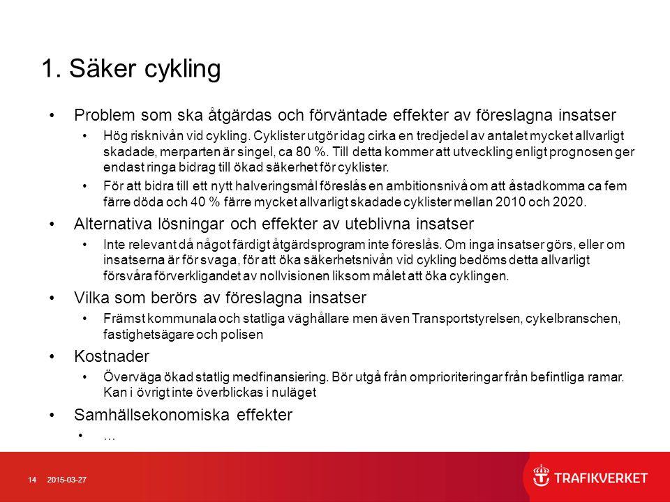 142015-03-27 1. Säker cykling Problem som ska åtgärdas och förväntade effekter av föreslagna insatser Hög risknivån vid cykling. Cyklister utgör idag