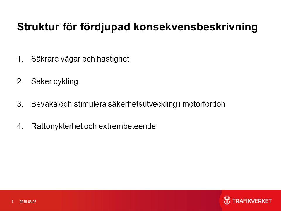 72015-03-27 Struktur för fördjupad konsekvensbeskrivning 1.Säkrare vägar och hastighet 2.Säker cykling 3.Bevaka och stimulera säkerhetsutveckling i mo