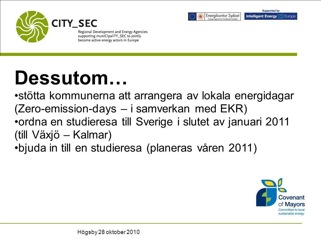 Dessutom… stötta kommunerna att arrangera av lokala energidagar (Zero-emission-days – i samverkan med EKR) ordna en studieresa till Sverige i slutet av januari 2011 (till Växjö – Kalmar) bjuda in till en studieresa (planeras våren 2011) Högsby 28 oktober 2010