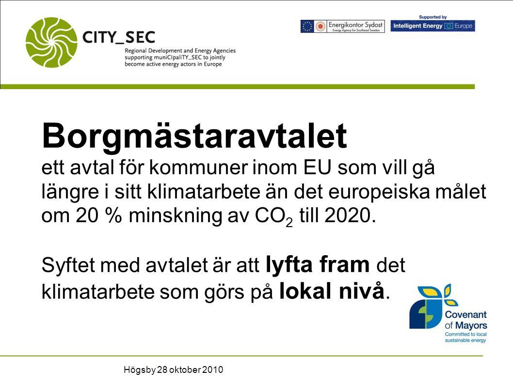 Borgmästaravtalet ett avtal för kommuner inom EU som vill gå längre i sitt klimatarbete än det europeiska målet om 20 % minskning av CO 2 till 2020.