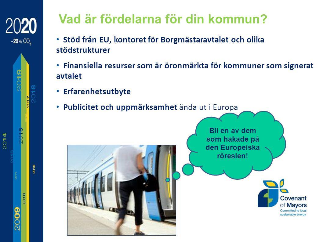 Stöd från EU, kontoret för Borgmästaravtalet och olika stödstrukturer Finansiella resurser som är öronmärkta för kommuner som signerat avtalet Erfarenhetsutbyte Publicitet och uppmärksamhet ända ut i Europa Vad är fördelarna för din kommun.