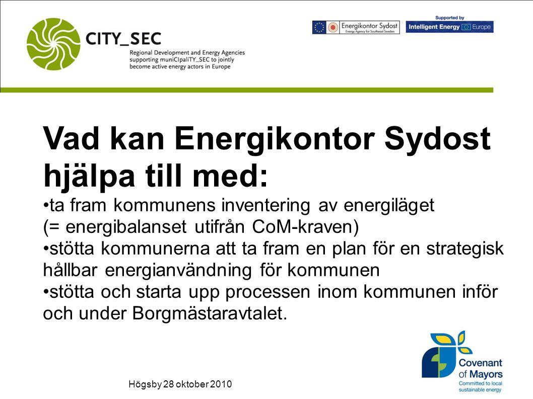 Vad kan Energikontor Sydost hjälpa till med: ta fram kommunens inventering av energiläget (= energibalanset utifrån CoM-kraven) stötta kommunerna att ta fram en plan för en strategisk hållbar energianvändning för kommunen stötta och starta upp processen inom kommunen inför och under Borgmästaravtalet.