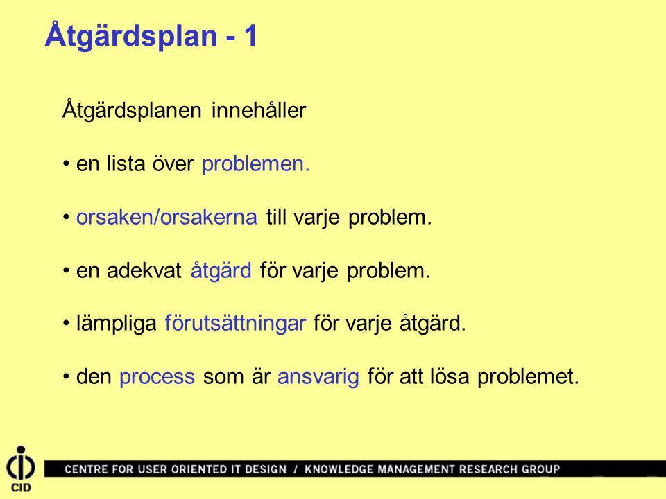 Åtgärdsplanen innehåller en lista över problemen. orsaken/orsakerna till varje problem. en adekvat åtgärd för varje problem. lämpliga förutsättningar