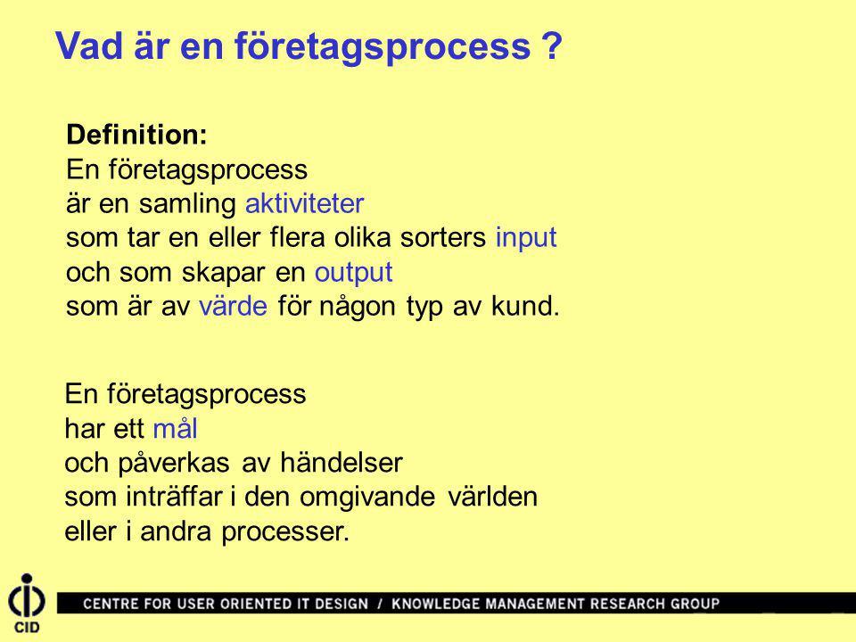 Vad är en företagsprocess ? Definition: En företagsprocess är en samling aktiviteter som tar en eller flera olika sorters input och som skapar en outp
