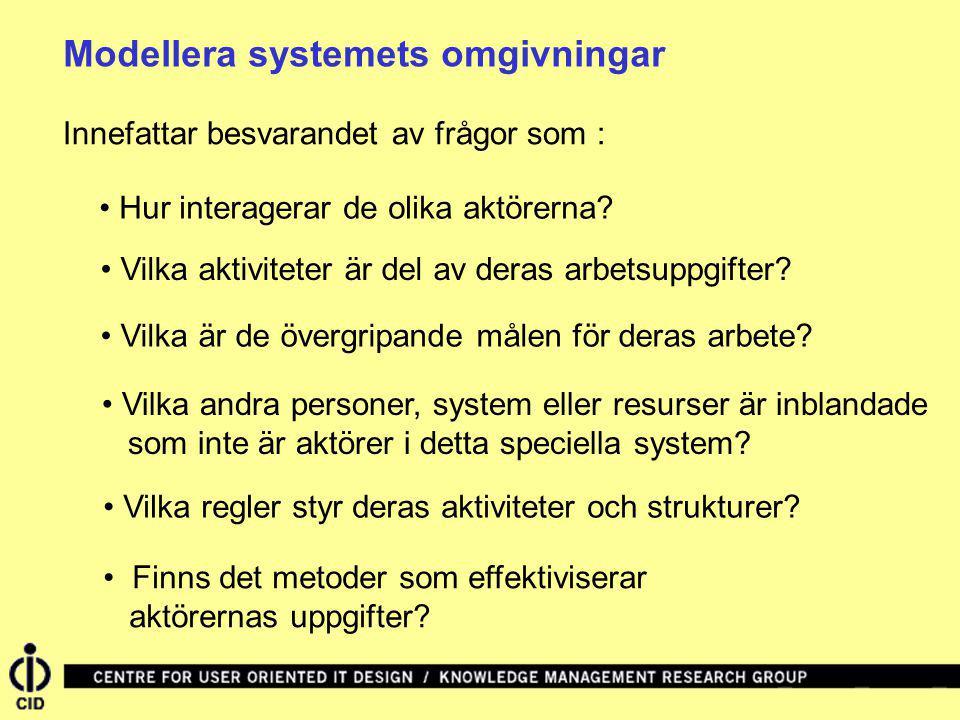 Modellera systemets omgivningar Innefattar besvarandet av frågor som : Hur interagerar de olika aktörerna? Vilka aktiviteter är del av deras arbetsupp