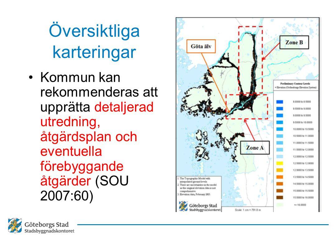 Översiktliga karteringar Kommun kan rekommenderas att upprätta detaljerad utredning, åtgärdsplan och eventuella förebyggande åtgärder (SOU 2007:60)