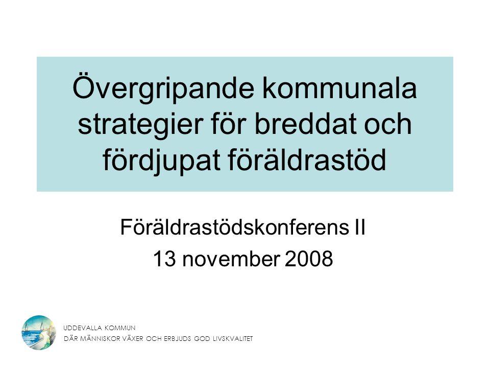 UDDEVALLA KOMMUN DÄR MÄNNISKOR VÄXER OCH ERBJUDS GOD LIVSKVALITET Övergripande kommunala strategier för breddat och fördjupat föräldrastöd Föräldrastödskonferens II 13 november 2008